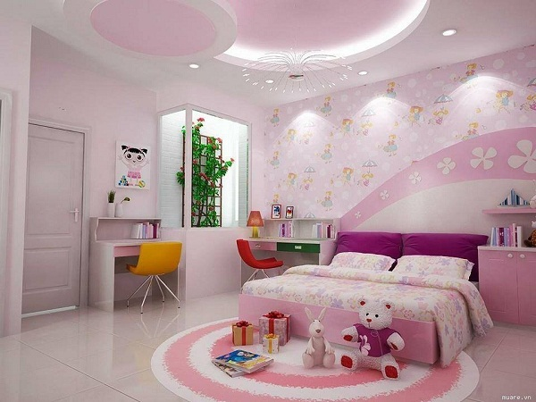 Trần thạch cao phòng ngủ cho bé gái