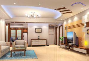 """alt=""""trần thạch cao trang trí phòng khách Kim Đồng"""""""