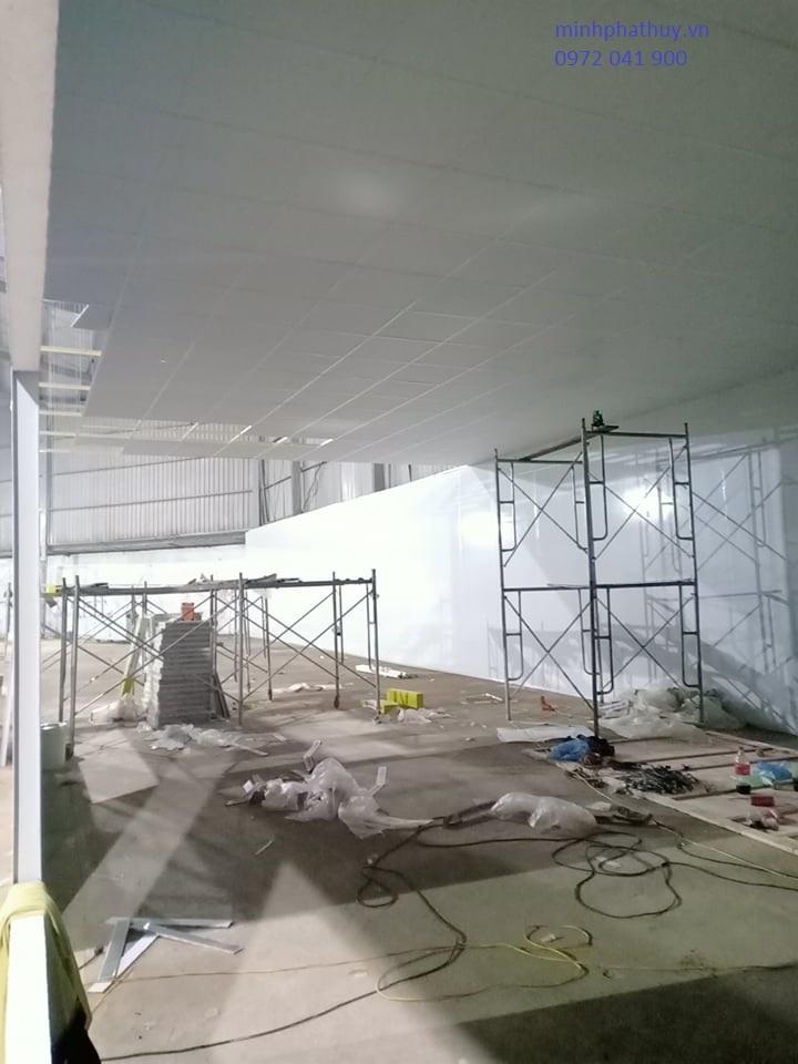 Thi công trần vách thạch cao nhà xưởng ở Hòa Bình